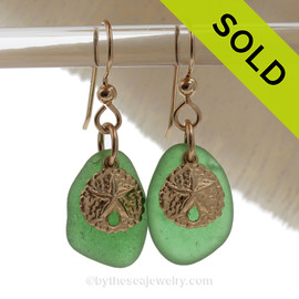 Perfect Petite Genuine Green Sea Glass Earrings On Gold With Sandollar Charms.