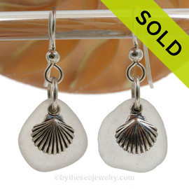 Beach Found Sea Glass Earrings In Clean White on Sterling Silver With Shell Charms