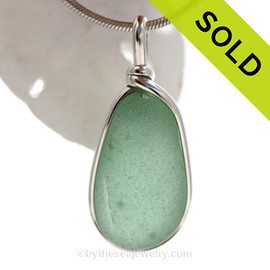Sea Lines - Seafoam Green Genuine Sea Glass Pendant In Sterling Original Wire Bezel©