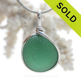 VIVID Deep Aqua Green Sea Glass In Original Silver Wire Bezel© Wire Pendant