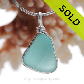 STUNNING Aquamarine Genuine Sea Glass Original Wire Bezel© Pendant in Sterling Silver