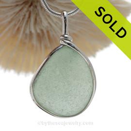 P-E-R-F-E-C-T Seafoam Green Genuine Sea Glass Pendant In Sterling Original Wire Bezel©