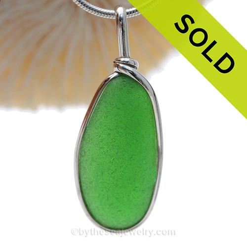 PERFECT Oval Bright Green Sea Glass In Original Silver Wire Bezel© Wire Pendant