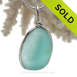 Aquamarine Genuine Sea Glass Bottle Bottom Original Wire Bezel© Pendant in Sterling Silver