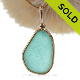 Aquamarine  Genuine Sea Glass Pendant In our Original Wire Bezel© Setting© In 14K G/F