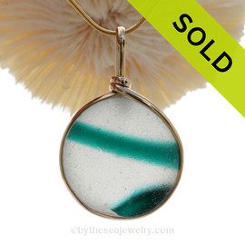 P-E-R-F-E-C-T & Large Super Ultra Rare Teal Seaham Sea Glass Multi in our Original Wire Bezel© Pendant Setting