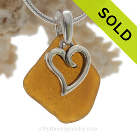 "Bright Amber Brown Sea Glass Necklace with Sterling Heart Charm and 18"" STERLING Silver CHAIN INCLUDED"