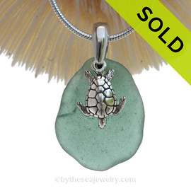 "Aqua Green Sea Glass Necklace with Sterling Sea Turtle Charm and 18"" STERLING CHAIN INCLUDED"