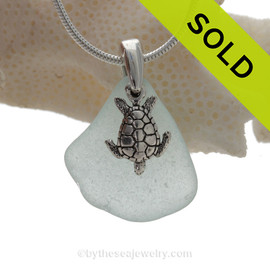 """Pretty Pale Aqua Blue Sea Glass Necklace with Sterling Sea Turtle Charm and 18"""" STERLING CHAIN INCLUDED"""