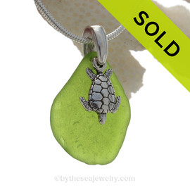 "Rare Chartreuse Green Sea Glass Necklace with Sterling Detailed Sea Turtle Charm and 18"" STERLING CHAIN INCLUDED"