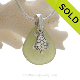 "Peridot  Green Sea Glass Necklace with Sterling Detailed Sea Turtle Charm and 18"" STERLING CHAIN INCLUDED"