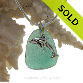 "Rare Aqua Green Sea Glass With Sterling Silver Dolphins Charm - 18"" STERLING CHAIN INCLUDED"
