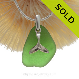 "Vivid Green Sea Glass With Sterling Silver Sea Whale Tail Charm - 18"" STERLING CHAIN INCLUDED"