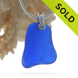 P-E-R-F-E-C-T LARGE Simply Blue Sea Glass Necklace On Sterling Bail - S/S SNAKE CHAIN INCLUDED