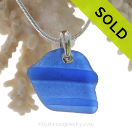 A Large Cool Piece of Vivid Cobalt Bluer Sea Glass with Distinct Ridging on a Solid Sterling Bail - S/S SNAKE CHAIN INCLUDED