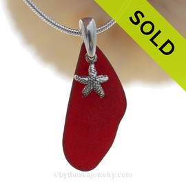 "Rare Ruby Red Sea Glass Necklace with Sterling Silver Sea Star Charm and 18"" STERLING CHAIN INCLUDED"