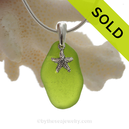 """Naturally shaped Rare Lime or Chartreuse Glass Necklace with Sterling Silver Sea Star Charm and 18"""" STERLING CHAIN INCLUDED"""