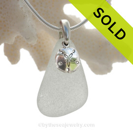 "Genuine White Sea Glass Necklace with Sterling Silver Sandollar  Charm and 18"" STERLING CHAIN INCLUDED"