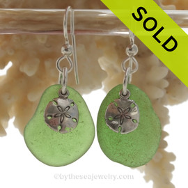 Larger Perfect Green Sea Glass Earrings On Sterling W/ Solid Sterling Sandollar Charms