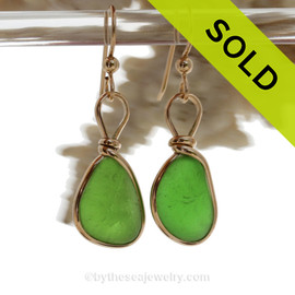VIVID Lime Green Genuine Sea Glass Earrings In 14K Goldfilled Original Bezel Wire©