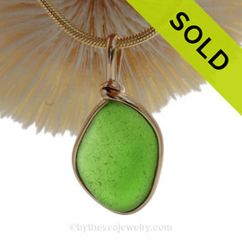 Vivid Genuine Lime Green Sea Glass in our Original Gold Wire Bezel ©