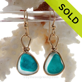 SUPER ULTRA RARE Flashed Electric Teal Genuine English Sea Glass In 14K G/F Original Wire Bezel©