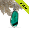 Tropical Teal -  Long RARE Teal Green Multi Sea Glass Pendant In Original Wire Bezel Setting©
