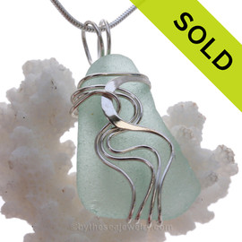 Seafoam Sea Glass Sterling Waves© Signature Sterling Setting Pendant