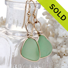 Vivid Yellowy Seafoam Green Beach Found Sea Glass Earrings In 14K Goldfilled Original Wire Bezel©