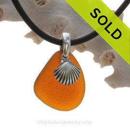 Simply Sea Glass - Amber Natural Sea Glass Necklace W/Shell Charm Silver Bail on Neoprene Cord