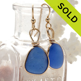 Brilliant Blue Genuine Sea Glass Earrings 14K Rolled Gold Original Wire Bezel©