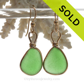 Classic Green Genuine Sea Glass Earrings In 14K Goldfilled Original Bezel Wire©