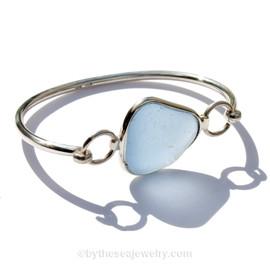Sheppy Carolina Blue Genuine Beach Found Sea Glass Premium Bangle Bracelet In Deluxe Wire Bezel©
