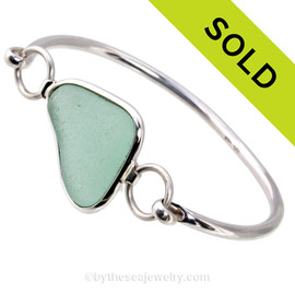 Natural Triangular Seafoam Green Premium Sea Glass Bangle Bracelet in Deluxe Wire Bezel©