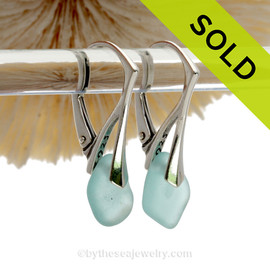 Small Aqua Beach Found Genuine Sea Glass Earrings On Solid Sterling Silver Leverbacks
