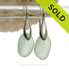 Thick Perfect Seafoam Green Sea Glass Earrings on Solid Sterling Deco Hooks