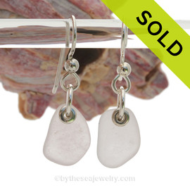 Simply Sea Glass -  Genuine Sea Glass Earrings In Rose White on Sterling Silver