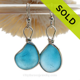 Aqua X-plosion - L-A-R-G-E Super Rare Aqua Blue Sterling English Multi Sea Glass Earrings In Sterling Original Wire Bezel©