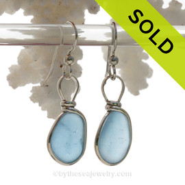 P-E-R-F-E-C-T Carolina Blue Sterling Seaham Sea Glass Earings Sterling Wire Bezel©