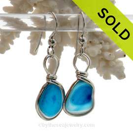 Water Spots - Petite Rare Bright Aqua Blue Sterling English Multi Sea Glass Earrings In Sterling Original Wire Bezel©