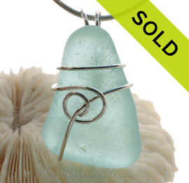 Pale Aqua Blue Genuine Sea Glass Pendant In Sterling Silver Sea Swirl Setting