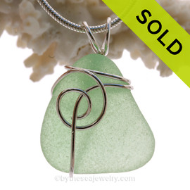 Fresh Yellowy Sea Green Genuine Sea Glass In Sterling Sea Swirl Setting Pendant