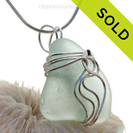 Pale Sea Green Genuine Sea Glass Sterling Waves© Signature Sterling Setting Pendant