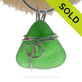 P-E-R-F-E-C-T VIVID Green Genuine Sea Glass In Sterling Sea Swirl Setting Pendant