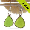 Natural Triangles of Lime Green Genuine Sea Glass Earrings In Sterling Silver Original Wire Bezel© SOLD - Sorry this Sea Glass Jewelry selection is NO LONGER AVAILABLE!