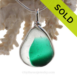 Tropical Teal  Persuasion RARE Teal Green Multi Sea Glass Pendant In Original Wire Bezel Setting©