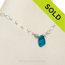 Simply Sea Glass - Seaham Blue & Teal Multi Sea Glass Necklace on Sterling 18 Inch Chain
