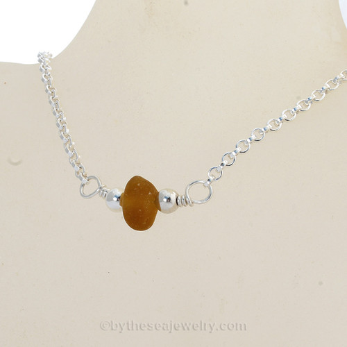 """Simply Sea Glass - Glowing Honey Amber Sea Glass Necklace on All Solid Sterling Silver - 18"""""""