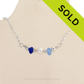 Simply Sea Glass Necklace with Cobalt Blue Sea Glass and a focal bead of Genuine Pearl all on Solid Sterling Silver. SOLD - Sorry this Sea Glass Necklace is NO LONGER AVAILABLE!