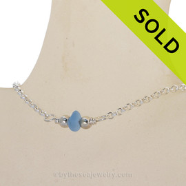 Simply Sea Glass - Simply Sea Glass - Carolina Blue Sea Glass Necklace on All Solid Sterling Silver - 16.5""